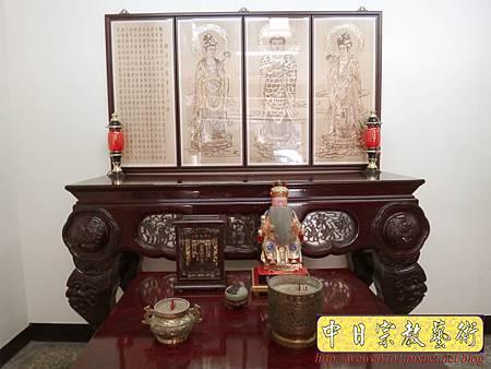 A7604.西方三聖木雕製作 佛桌佛掛佛聯 阿彌陀佛 觀音菩薩 大勢至菩薩.JPG