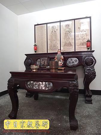 A7607.西方三聖木雕製作 佛桌佛掛佛聯 阿彌陀佛 觀音菩薩 大勢至菩薩.JPG