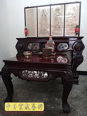 A7608.西方三聖木雕製作 佛桌佛掛佛聯 阿彌陀佛 觀音菩薩 大勢至菩薩.JPG