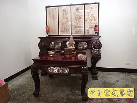 A7609.西方三聖木雕製作 佛桌佛掛佛聯 阿彌陀佛 觀音菩薩 大勢至菩薩.JPG