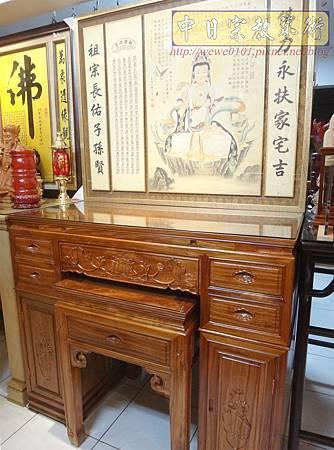 M14613.柚木神桌 箱櫃式佛桌 4尺2上下桌.JPG