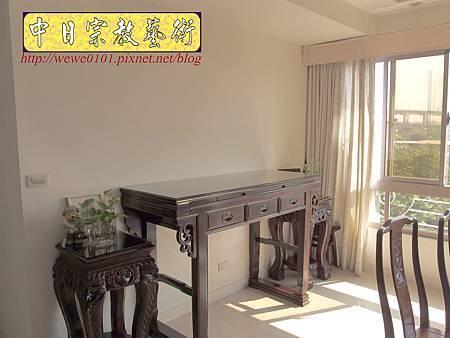 N23902.5尺1明式神桌 圓心經木雕佛桌聯.JPG