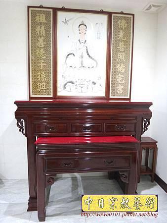 N24402.五尺一神明廳神桌樣示 明式佛桌 手繪觀音彩聯 木雕神聯佛聯.JPG