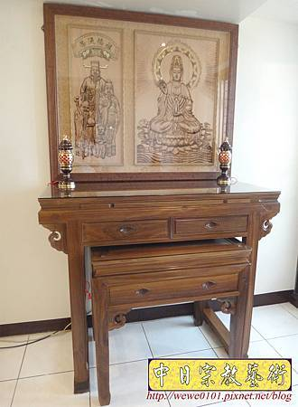 N26902.高級綠檀神桌 四尺二佛桌樣式 3D木雕觀音聯祖先聯.JPG