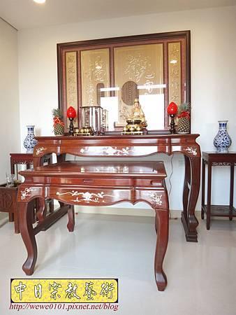 N27801.紫檀鑲貝神桌 5尺8佛桌 觀自在心經木雕神聯佛聯 神龕佛龕製作.JPG