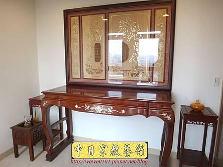 N27802.紫檀鑲貝神桌 5尺8佛桌 觀自在心經木雕神聯佛聯 神龕佛龕製作.JPG