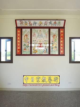 C9703.傳統神明廳神桌背景設計 八尊神明彩.JPG