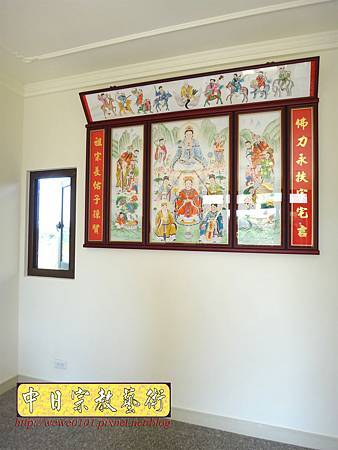 C9704.傳統神明廳神桌背景設計 八尊神明彩.JPG