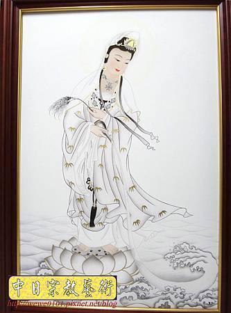 C10203.一貫道佛桌背景 白衣大士畫像佛聯佛龕.JPG