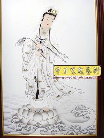 C10205.一貫道佛桌背景 白衣大士畫像佛聯佛龕.JPG