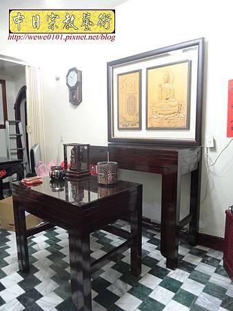 N28601.日式佛桌 4尺2雞翅木神桌 半浮雕觀音聯.JPG