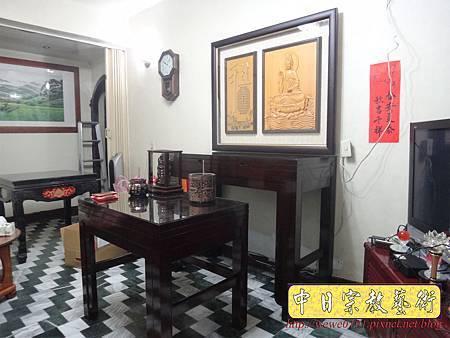 N28602.日式佛桌 4尺2雞翅木神桌 半浮雕觀音聯.JPG