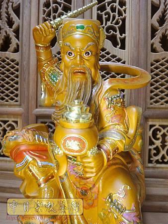 L5802.武財神木雕 八路財神雕刻 一尺六武財神趙公明.JPG
