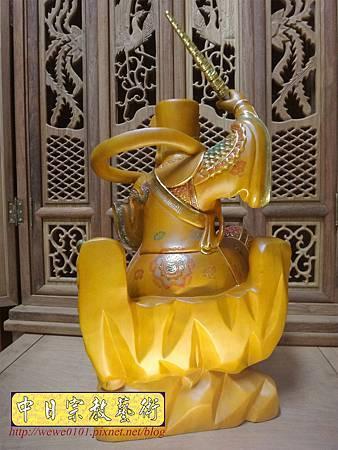 L5807.武財神木雕 八路財神雕刻 一尺六武財神趙公明.JPG