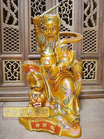 L5812.武財神木雕 八路財神雕刻 一尺六武財神趙公明.JPG