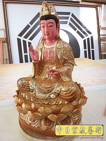 L5901.極緻神桌佛像雕刻~觀世音菩薩木雕佛像 極彩描金製做.JPG