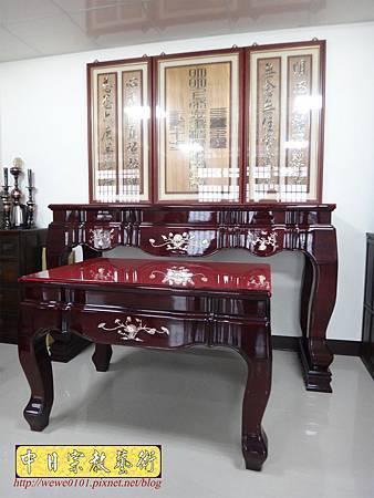 N29101.一貫道佛堂設計 7尺佛桌明明上帝木雕佛聯.JPG