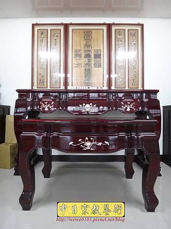 N29102.一貫道佛堂設計 7尺佛桌明明上帝木雕佛聯.JPG