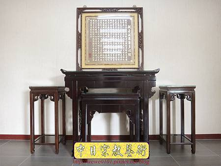 N29402.仿古佛堂設計 仿古式神桌製作 中式花架配置 窗花心經木雕金箔.JPG