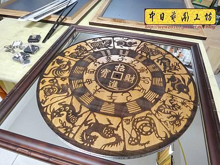 H15212.木雕掛鐘 八掛鐘 實木雕刻製作.JPG