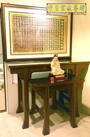 M30601.發字型神桌設計 5尺1佛桌樣示 雷射雕刻心經木雕聯 神桌神龕後貼設計.JPG