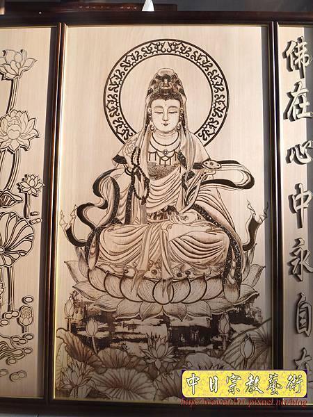 A10901.現代佛堂素雅神桌神像聯對雕刻 5尺8觀世音菩薩佛像佛聯.jpg