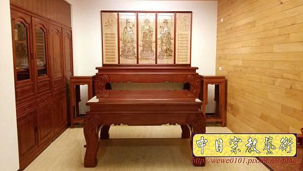 N31301.七尺佛堂佛桌神桌 西方三聖木雕佛像佛聯.jpg