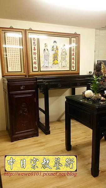 N31611.佛桌與祖先桌分開樣式 4尺2黑檀桌搭1尺58公媽桌 西方三聖佛畫.jpg