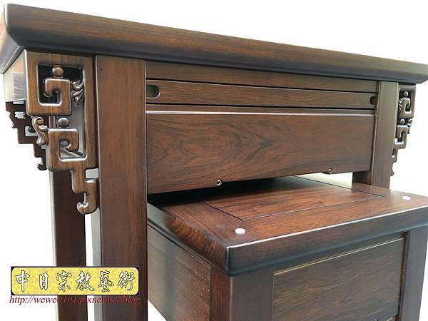 M19307.古典小神桌樣式 居家小神桌 黑紫檀2尺9神桌.JPG