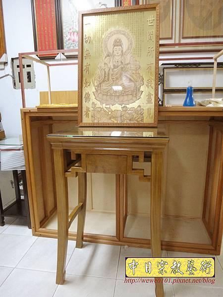 O0702.現代佛桌 二尺單上桌 八腳桌 影刻觀音聯.JPG
