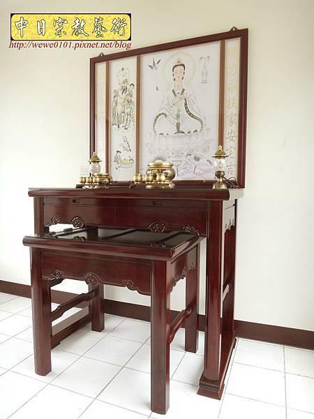 N32301.四尺二黑紫檀如意佛桌 手繪觀音聯.JPG