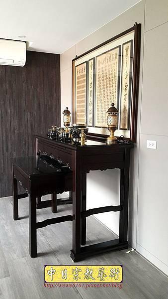 N32502.五尺一黑紫檀如意佛桌 心經百壽木雕佛聯.jpg