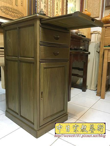 M19606.綠檀公媽櫃 1尺58小供桌 佛桌.JPG