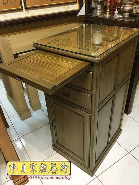 M19604.綠檀公媽櫃 1尺58小供桌 佛桌.JPG