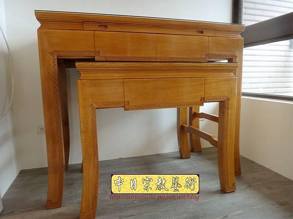 M19705.黃花梨木神桌 彎腳精雕龍紋佛桌樣式 4尺2小神桌.JPG