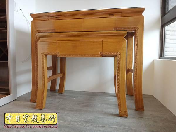 M19702.黃花梨木神桌 彎腳精雕龍紋佛桌樣式 4尺2小神桌.JPG