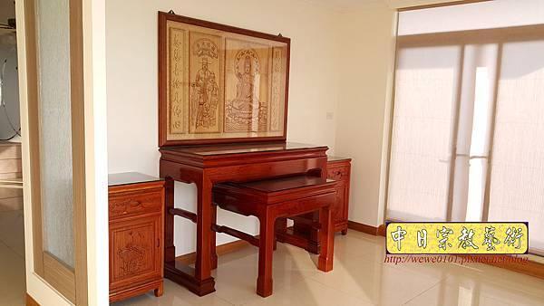 N33008.五尺一花梨素面神桌 仿浮雕觀音木雕聯.jpg