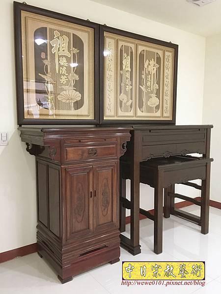 N33504.四尺二黑紫檀如意佛桌 二尺二公媽櫃 佛道禪心木雕聯 雙姓祖先.JPG