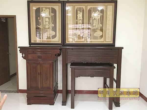 N33501.四尺二黑紫檀如意佛桌 二尺二公媽櫃 佛道禪心木雕聯 雙姓祖先.JPG