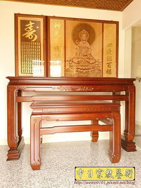 N33906.五尺八鹿港型佛桌 仿浮雕觀音木雕聯.jpg