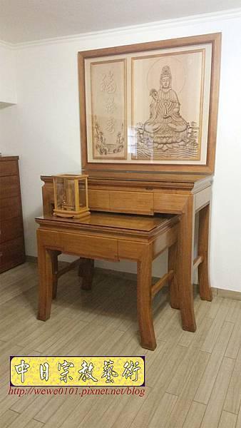 N34202.四尺二彎腳佛桌 仿浮雕觀音木雕佛祖聯.jpg