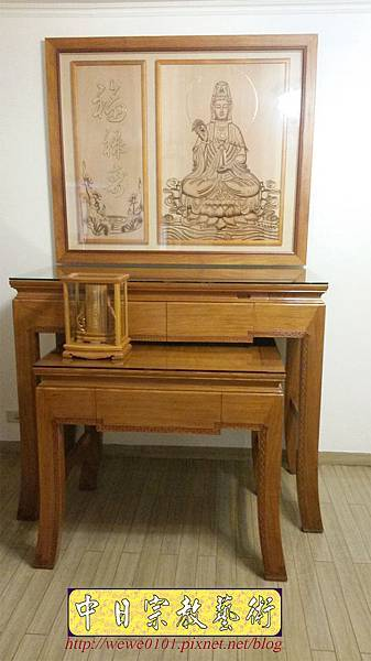 N34201.四尺二彎腳佛桌 仿浮雕觀音木雕佛祖聯.jpg