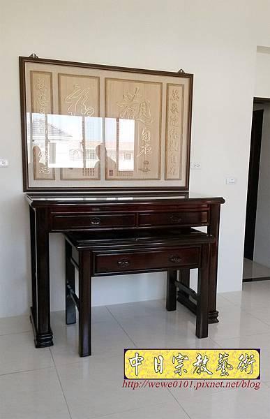 N34603.五尺一黑紫檀素面佛桌 觀自在木雕佛祖聯.jpg