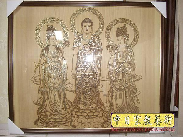 A15901.現代神桌佛像聯對~雷射雕刻西方三聖木雕聯.JPG