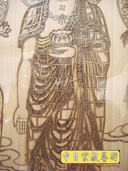 A15906.現代神桌佛像聯對~雷射雕刻西方三聖木雕聯.JPG