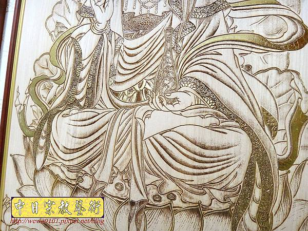 A18505.時尚佛桌觀音木雕神明彩5尺8 陽雕經文百壽木雕佛聯.JPG