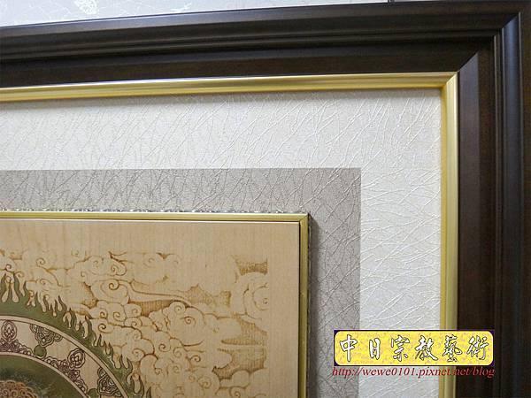 A18611.時尚神桌佛像佛聯 3尺半雲層觀音百壽金邊聯.JPG