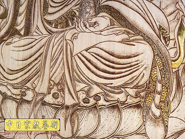 A18907.時尚佛桌觀音木雕神明彩2尺9 心經觀音 福祿壽木雕佛聯.JPG