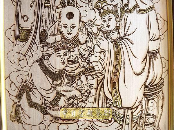 A18908.時尚佛桌觀音木雕神明彩2尺9 心經觀音 福祿壽木雕佛聯.JPG