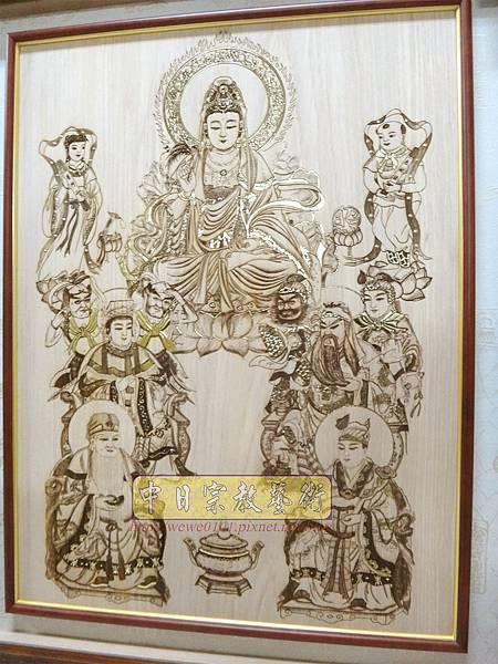 A19105.時尚佛桌觀音木雕神明彩 11尊眾神木雕佛祖聯.JPG